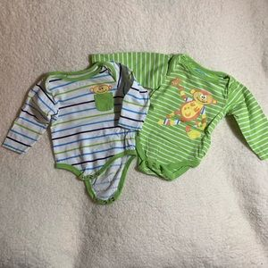 Pair of two Monkey Long Sleeve Onesies, size 3 mo.